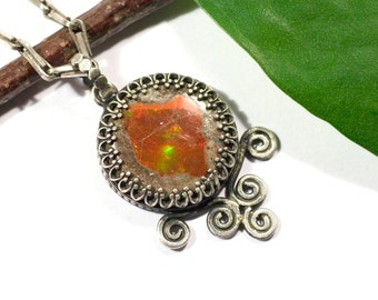Pendant, Opal, fire made of 925 Silver