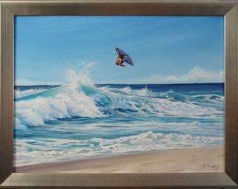 Original 18x24 Surfer Painting on Canvas by J. Mandrick