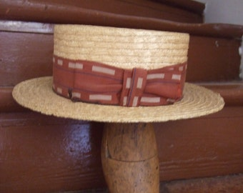 Vintage Straw Classic Boater Made in England For French Outfitters. Original order.