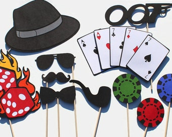 Secret Agent Themed Photo Booth Props - Casino - Features oversized deck of cards, dice on fire, and more...