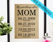 Personalized Mother's Day Gift Idea | Gift for Mom | Burlap Print | Birthday Gift for Mom | Childrens Name Signs | Kids Birth Dates Wall Art