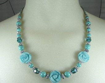 Amazonite and Swarovski Pearl and Crystal Floral necklace