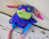 Superhero, Unique and Quirky Sock Animal with Cape and Mask, Hand-Stitched, Made with all Reclaimed Clothing, Plush Toy, Sustainable, OOAK
