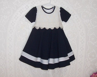 Size 3T - Little Girls' Dress - by Baby Club - Navy Blue - White Lace - Made in USA