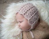 READY TO SHIP Newborn Girl Photo Prop - Baby Girl Bonnet - Angora Newborn Girl Bonnet - Newborn photo prop