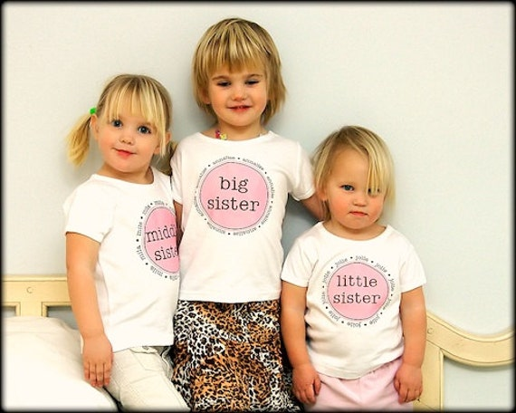 Personalized Big  Middle Sister Cousin T Shirt Girls  High Quality Tee SHORT SLEEVE Tshirts