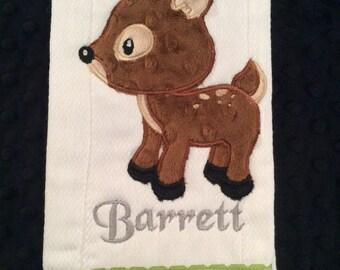 Woodland Deer Burp cloth, woodland deer,