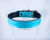 Baby Blue Croco Leather Collar