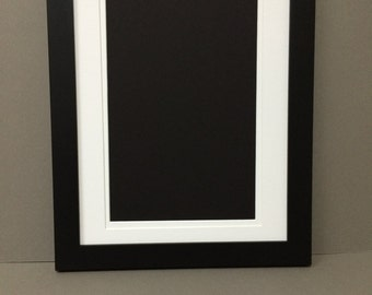 16x20 Black Picture Frame with White and White Double Mat for 12x16 Picture