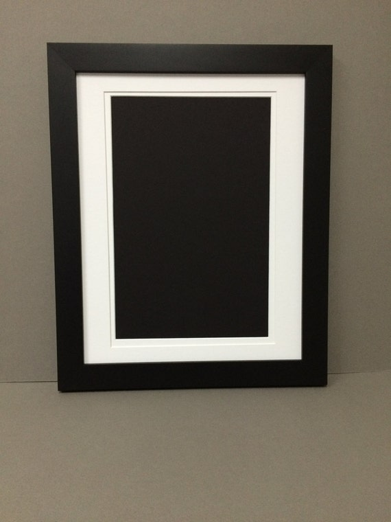 11x14 Black Picture Frame With White And White Double Mat For