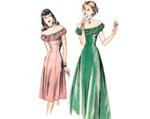 1940s Evening Dress Pattern Hollywood 1970, Off the Shoulder Ruched Shelf Bust Princess Seam Gown, Vintage Sewing Pattern Bust 30 Uncut