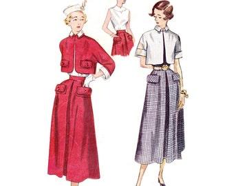 1950 Suit Pattern Simplicity 3141, Kimono Sleeve Bolero Jacket, Pleated Flared Skirt, Sleeveless Blouse, Vintage Sewing Pattern Bust 30