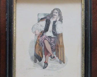 Jean Baptiste Moliere print signed by artist H. Monnier 19th century