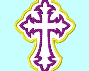 Purple Cross Applique Embroidery Designs, sizes 4,5,6,7,and 8 inches  INSTANT Download