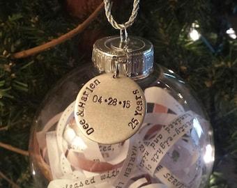 Anniversary/Wedding invitation ornament, anniversary, Wedding date. Wedding gift. Engagement gift., birth announcement, graduation gift