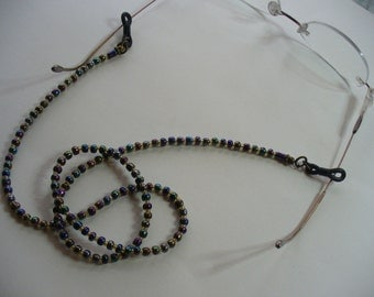 Elegant Beaded Eyeglass Holder, Black Aurora Borealis Beads, Gold Glass Beads, Sunglass Eyeglass Holder, Glasses Chain