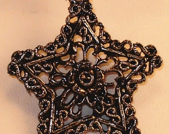 Silver Star Pendant with black cord