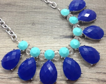Teal & Navy Blue bib necklace - statement jewelry for everyday!