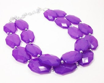 Big Bead Purple Necklace - double strand statement jewelry