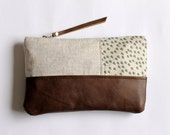 Linen and leather clutch, linen zipper pouch