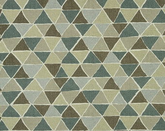 Jade Green Cotton Upholstery Fabric - Taupe and Ivory Geometric Curtain Material - Modern Throw Pillow Fabric with Triangle Shapes