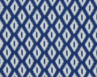 Peacock Blue Ikat Upholstery Fabric Blue White Geometric Fabric For Furniture Peacock Blue Geometric