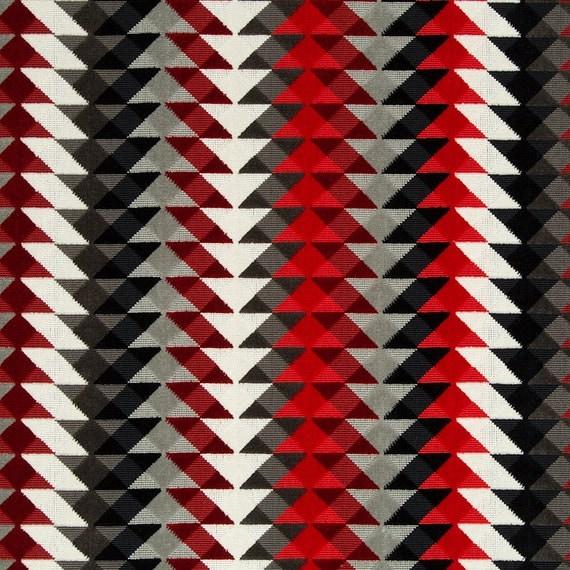 Red Grey Upholstery Fabric Geometric Black White Velvet