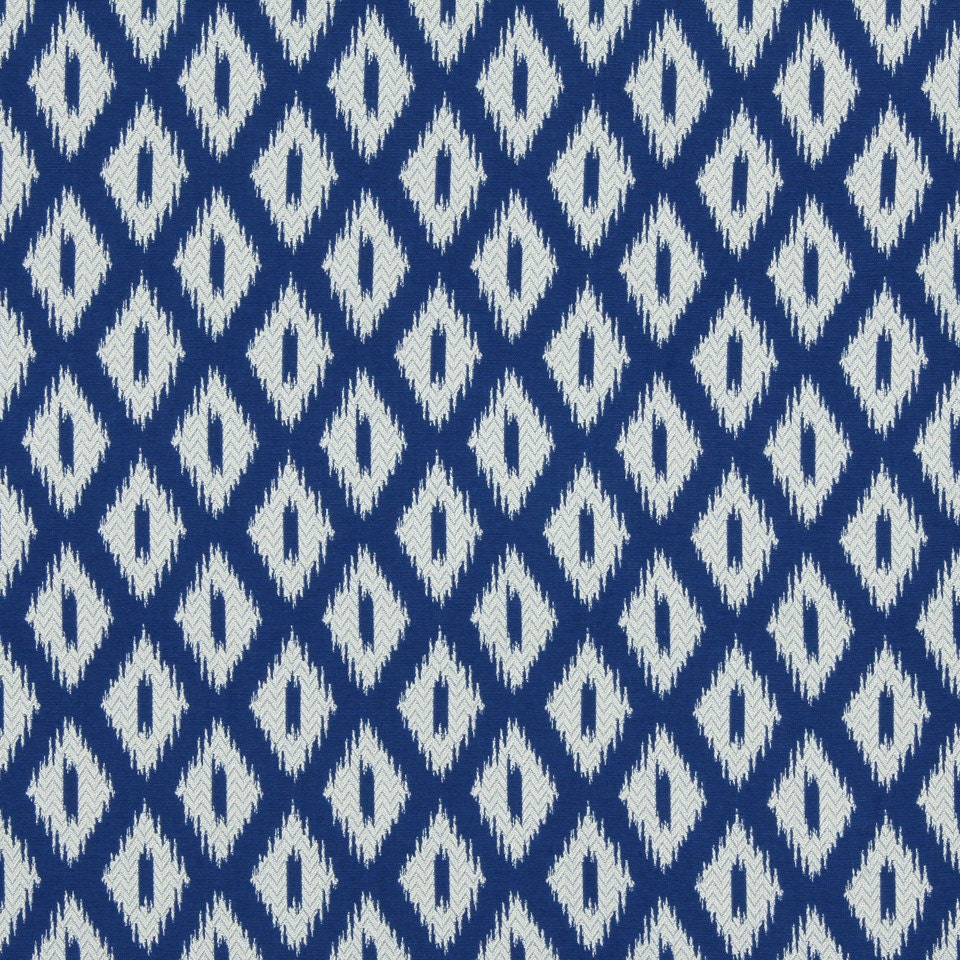 peacock blue ikat upholstery fabric blue white geometric. Black Bedroom Furniture Sets. Home Design Ideas