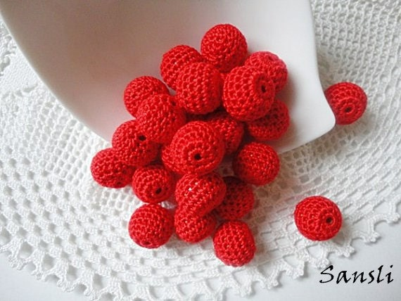 12 pcs- 13 mm beads-crocheted bead-red beads-round beads-crochet ball beads-beads crochet-embellishment-wooden crochet cotton yarn beads