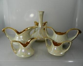 Vintage Tea Set, Vase, Cream and Sugar Pearl China Co 22Kt Gold
