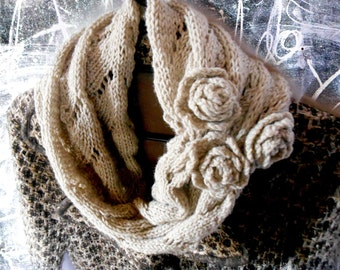 Gray Wool Cowl with Crochet Flowers, Rustic Romantic Accessories, Gray Cowl Scarf