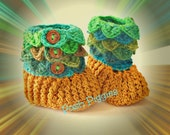Peter Pan Gold Toe Woodland Fairy Earth Baby King Midas Touch Elfin Slippers Hobbit Crocodile Stitch Crocheted Baby Booties