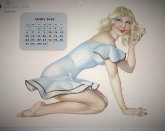 1947 APRIL Calendar Page Esquire Girl  Pin up PINUP Vargas Girl World War II Varga 1940s