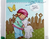 Handmade Greeting Card - Just For You - Girl with Lamb, spring, birthday, easter, sheep by HoneyblossomDesigns