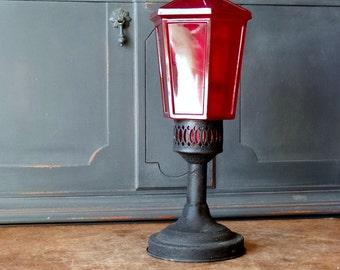 Vintage Brass Glass Lantern, Red, Black, Candleholder, Home Decor, Lighting, Salvaged