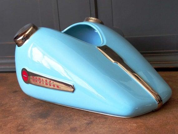 vintage harley davidson moto bleu aqua r servoir porcelaine. Black Bedroom Furniture Sets. Home Design Ideas