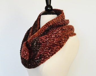 Crochet Infinity Scarf Bulky Winter Cowl Brown & Rust, Womens Fashion Accessories, Cowl Scarf, Gift For Her, Autumn Scarf, Circular Scarf