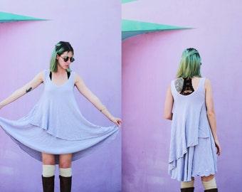 Vintage oversized / drippy / flowy lavender / pastel / asymmetrical dress / loose fit