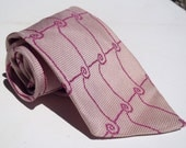 Vintage 1970s Wide Lavender Tie with Pink Scrollwork from Sears