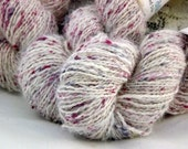 Bunny Silk-Handspun Angora yarn blended with dyed silk noil-White with red, pink and blue silk