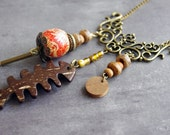 Rustic Wood necklace Red Brown ethnic tribal jewelry