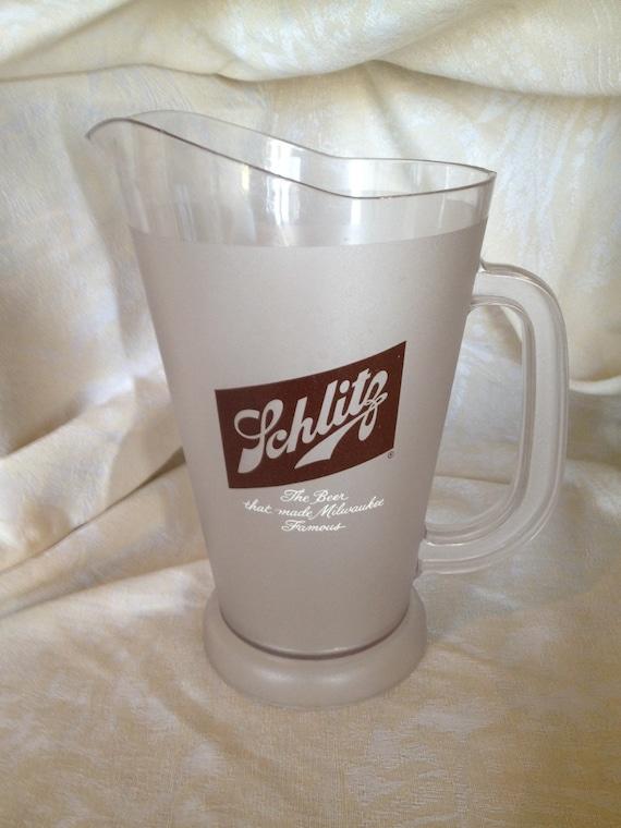 schlitz plastic beer pitcher by lemonandbean on etsy. Black Bedroom Furniture Sets. Home Design Ideas