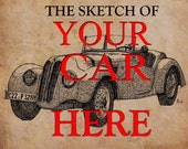 Personalized hadmade sketch 11.5x16 with your own car. Only send me a photo and I'll do it, trending items