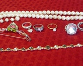 Misc. Lot of Rings, Necklace Choker, Bracelet Vintage Items
