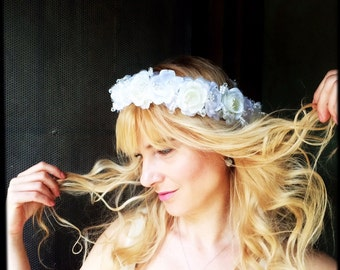 Bridal headpiece flower wedding headband crown tiara in white