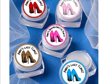Lip Balm Bridal Shower Favor - personalized- High Heels, Stiletto shoes theme -  set of 12 favors with personalized label