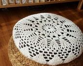 Crochet Ecru Sun Pillow Cover Cushion Vanilla Off-white IKEA ALSEDA Stool banana fibre Cotton eco-friendly Yarn Art Textille Home Decor