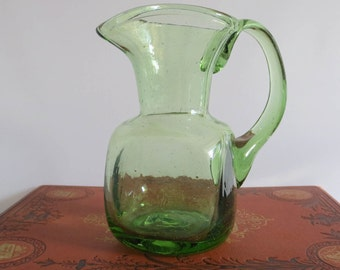 SALE - Vintage Hand Blown Green Glass Creamer/Jug/Pitcher for milk, maple syrup, flowers