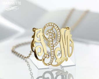 Monogram necklace with center letter set with diamond cubic zircon - 1 inch - Sterling silver 18k gold plated - free phone wallpaper- FedEx