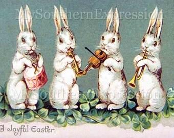 Easter Rabbits Vintage Digital Download Collage Mixed Media Scrapbook Clipart Paper crafts